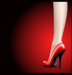 womens red shoes from a varnish on leg vector image