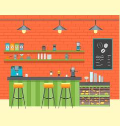 cartoon coffee shop design interior vector image