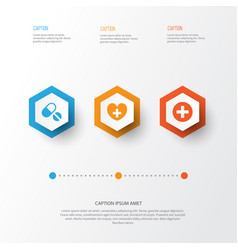 Medicine icons set collection of heal plus vector