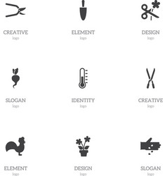 Set of 9 editable agriculture icons includes vector