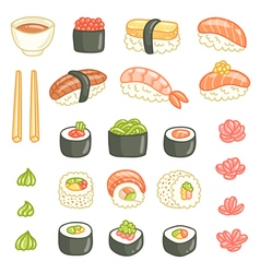 Sushi and rolls collection vector image vector image