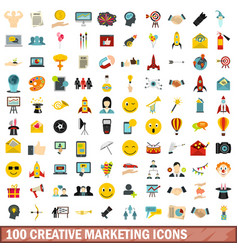 100 creative marketing icons set flat style vector image vector image