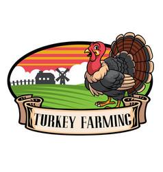Cartoon turkey farming vector