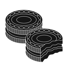Chocolate sandwich cookies icon in black style vector image vector image
