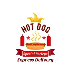 fast food hot dog express delivery emblem vector image vector image