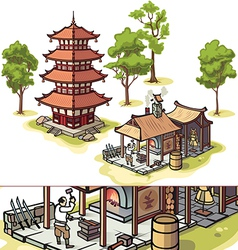 Japanese Pagoda and Medieval Blacksmith vector image