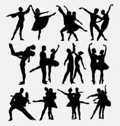 Ballet couple dance posing silhouette vector image vector image