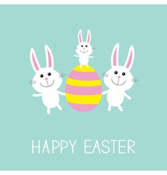 Happy Easter Three bunny rabbit family and striped vector image vector image