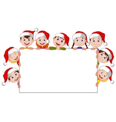 Kids cartoon with a blank sign and christmas hats vector image vector image