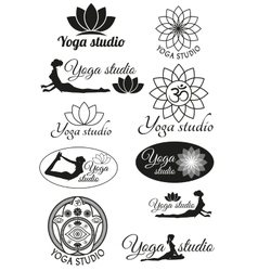 Set of design concepts for yoga studio vector image vector image