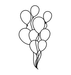 silhouette sketch set flying balloons decorative vector image vector image