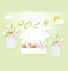 spring season concept window with flowers baskets vector image vector image