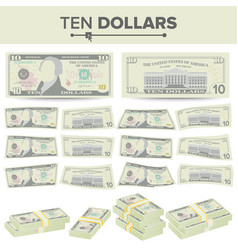 10 dollars banknote cartoon us currency vector image