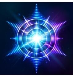 Bright shining blue neon sun at dark cosmic vector image