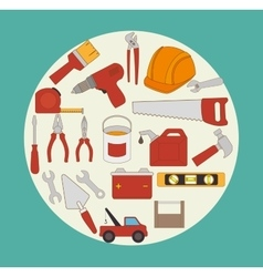 Constructions and tools theme design vector image vector image