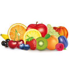 fresh fruits apple lemon apricot berries vector image