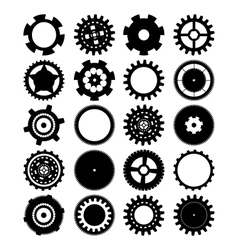 gears silhouette over white background vector image