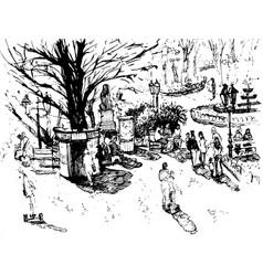 hand drawn ink line sketch european town vector image