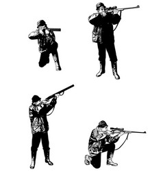 Hunters sketch set - vector
