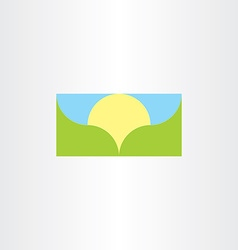 landscape banner background sun and mountain vector image