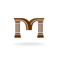Letter M logo with columns Architecture business vector image