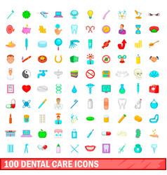 100 dental care icons set cartoon style vector