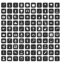 100 doctor icons set black vector image
