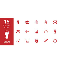15 drum icons vector image