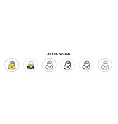 Araba woman icon in filled thin line outline vector