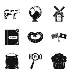 around the world icons set simple style vector image