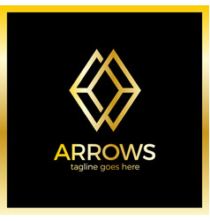 arrow rhomb line logo infinity cube royal luxury vector image
