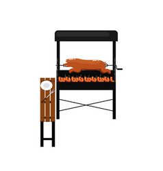 Barbecue grill with grilled pork icon vector