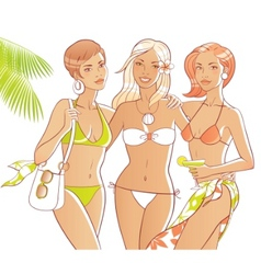 beach girls vector image