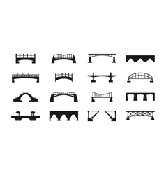 Black bridges icons isolated on white urban vector