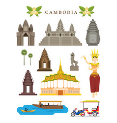 cambodia landmarks and culture object set vector image