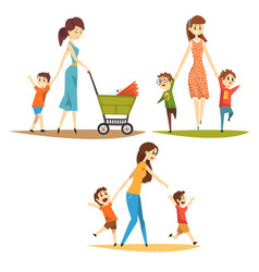 cartoon character set of young mothers with kids vector image