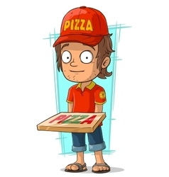 Cartoon delivery man with pizza vector