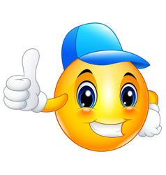 Cartoon emoticon smiley wearing a cap and giving a vector