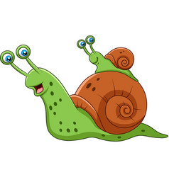 cartoon mother snail and her baby vector image