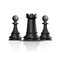 Chess concept design rook and two pawns vector