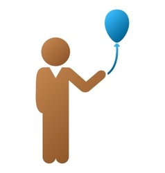 Child With Balloon Gradient Icon vector image