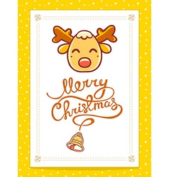 Christmas deer with hand written text on vector
