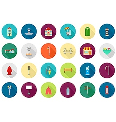 City elements round icons set vector