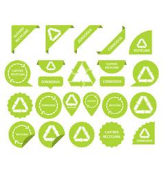 Clothes recycling conscious consumption set of vector