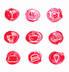 Coffee shop red icons set on white vector