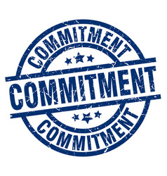 Commitment blue round grunge stamp vector