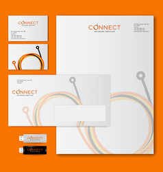 Connect logo corporate style optical fiber loops vector