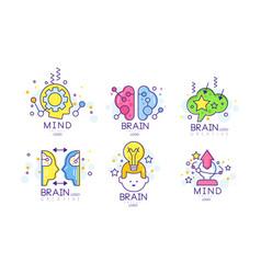 creative brain mind energy original logo design vector image