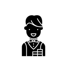 croupier black icon sign on isolated vector image