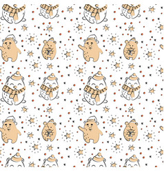 cute polar bear seamless winter pattern vector image